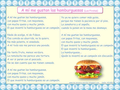 A mí me gustan las hamburguesas los piratas - Me encanta escribir en español - Señor ADAMS