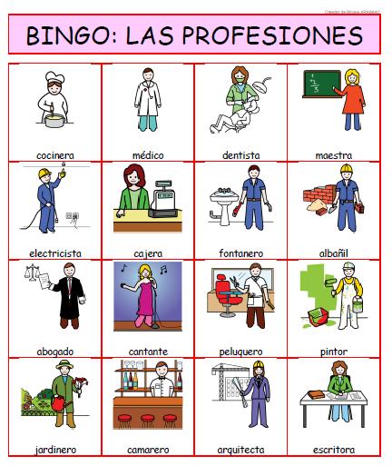 bingo profesiones
