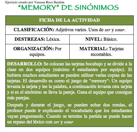 memory de sinónimos