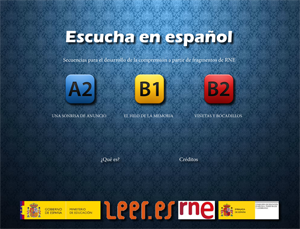 """""""Escucha en español"""" es una serie de actividades dirigidas al desarrollo de la comprensión auditiva utilizando como material de referencia fragmentos radiofónicos de programas de Radio Nacional de España."""